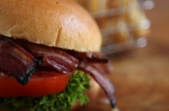 Lamb Bacon BLT Lamb Bacon Lettuce Tomato on a brioche bun